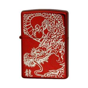 ZIPPO ジッポーライター 片面エッチング レッドイオンコーティング 銀サシ RED DRAGON(S) オイルライター|hinohikari-ii