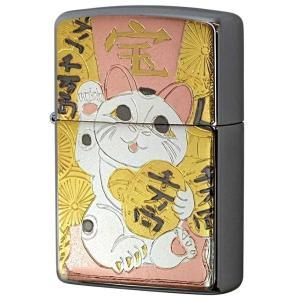 ZIPPO ジッポーライター 電鋳板 招き猫 まねきねこ 縁起物  和柄  カワイイ オイルライター プレゼント ギフト 父の日 |hinohikari-ii