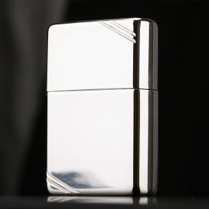 ZIPPO ジッポー オイルライター 純銀(スターリングシルバー)#14 フラットトップ(カットあり)ミラー仕上げ|hinohikari-ii