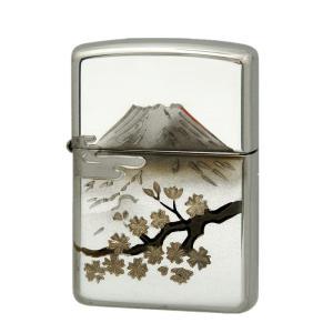 ZIPPO  ジッポー オイルライター スターリングシルバー(純銀) シルバー 桜富士|hinohikari-ii