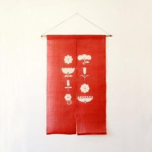 駿河和染 麻暖簾 花々・赤|hinoki-craft