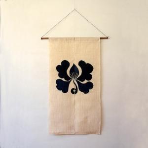 駿河和染 麻暖簾 白地にぼたん|hinoki-craft