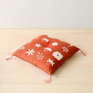駿河和染 座布団 花々|hinoki-craft