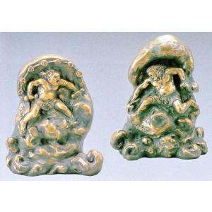 風神雷神セット 日本彫刻界の最高峰・北村西望作品 高岡銅器の置物