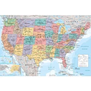 ポスター/アメリカ地図 フレーム(額)なし