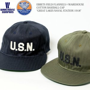 EBBETS FIELD FLANNELS × WAREHOUSE (エベッツフィールド×ウエアハウス) コットンベースボールキャップ