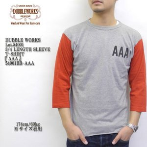 DUBBLE WORKS(ダブルワークス) Lot.54001 3/4 LENGTH SLEEVE T-SHIRT 『AAA』 54001BB-AAA|hinoya-ameyoko