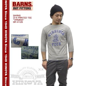 BARNS(バーンズ) 3/4 PRINTED TEE 『VIRGINIA』 BR-4126|hinoya-ameyoko