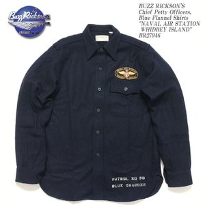 BUZZ RICKSON'S(バズリクソンズ) Chief Petty Officers, Blue Flannel Shirts PATCH BR27946|hinoya-ameyoko