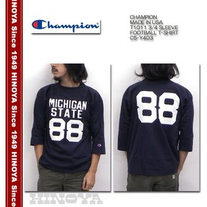 CHAMPION(チャンピオン) Made in U.S.A. T1011 3/4 SLEEVE FOOTBALL T-SHIRT C5-Y403|hinoya-ameyoko