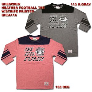 CHESWICK(チェスウィック) HEATHER FOOTBALL TEE W/STRIPE PRINTED CH64114|hinoya-ameyoko