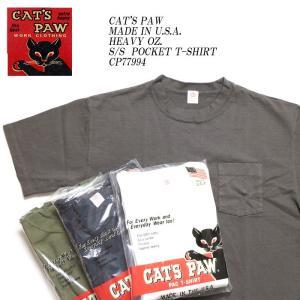 CAT'S PAW (キャッツポウ) Made in U.S.A ヘビーオンス 半袖ポケットTシャツ CP77994 hinoya-ameyoko