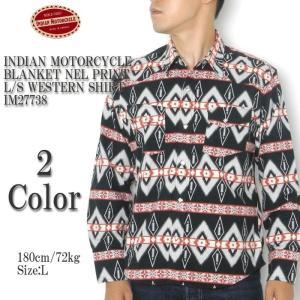 INDIAN MOTORCYCLE (インディアン モーターサイクル) ブランケット ネルプリント 長袖ウエスタンシャツ IM27738 hinoya-ameyoko