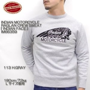 INDIAN MOTORCYCLE(インディアンモーターサイクル)  RAGLAN CREW SWEAT 『INDIAN FACE』 IM66359 hinoya-ameyoko
