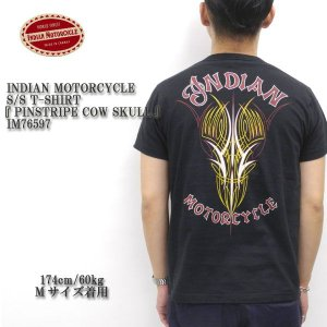 INDIAN MOTORCYCLE(インディアンモーターサイクル) S/S T-SHIRT 『PINSTRIPE COW SKULL』 IM76597|hinoya-ameyoko
