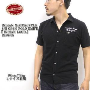 INDIAN MOTORCYCLE(インディアンモーターサイクル) S/S OPEN POLO EMB'D 『INDIAN LOGO』 IM76705|hinoya-ameyoko