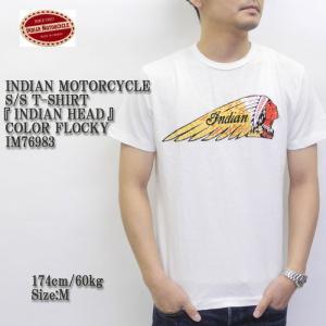 INDIAN MOTORCYCLE(インディアンモーターサイクル) S/S T-SHIRT 『INDIAN HEAD』 COLOR FLOCKY IM76983|hinoya-ameyoko