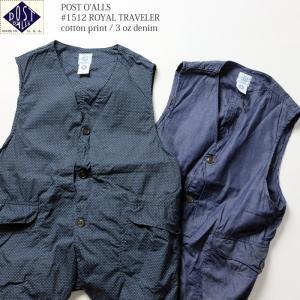 POST O'ALLS(ポストオーバーオールズ) #1512 ロイヤルトラベラー 3ozデニム/コットンプリント P1512-17|hinoya-ameyoko