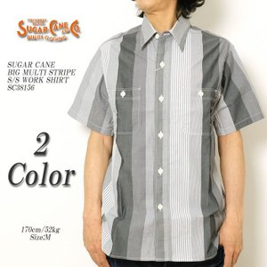 SUGARCANE(シュガーケーン) ビッグマルチストライプ 半袖ワークシャツ SC38156 hinoya-ameyoko