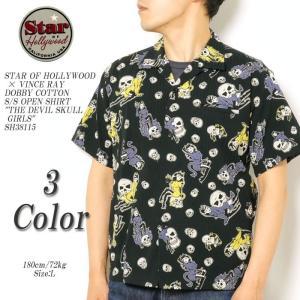 STAR of HOLLYWOOD×VINCE RAY (スターオブハリウッド×ヴィンス・レイ) ドビーコットン 半袖オープンシャツ