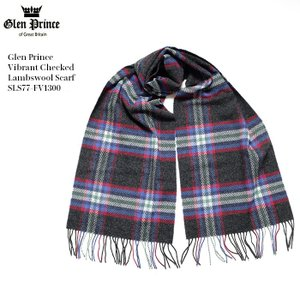 GLEN PRINCE (グレンプリンス) 100%ラムウール ヴァイブラントチェック ラムウールスカーフ SLS77-FV1300|hinoya-ameyoko