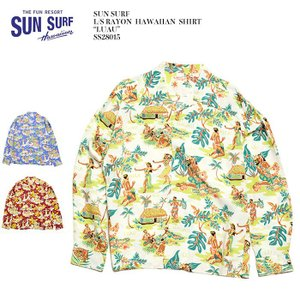 "SUN SURF(サンサーフ) 長袖レーヨン ハワイアンシャツ ""LUAU"" SS28015|hinoya-ameyoko"