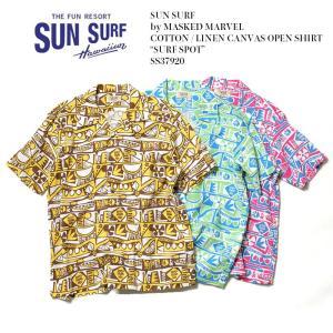 SUN SURF(サンサーフ) by MASKED MARVE コットンリネン キャンバス オープンシャツ