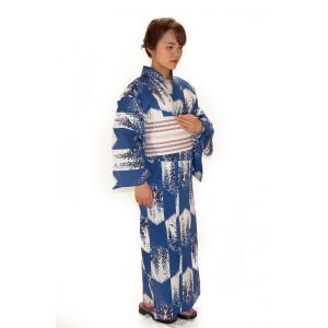 綿麻浴衣 仕立て上り浴衣 藍染藤柄 麻30% プレタ浴衣 フリーサイズ 浴衣単品 hinoyajp2000