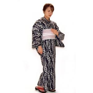 綿麻浴衣 仕立て上り浴衣 藍染よろけ柄 麻30% プレタ浴衣 フリーサイズ 浴衣単品 hinoyajp2000