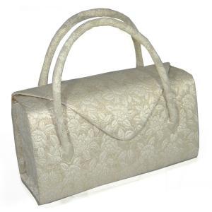 礼装用 和装バッグ 帯地つづれ銀地 波 利休バッグ かぶせ 日本製|hinoyajp2000