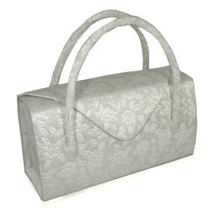 礼装用 和装バッグ 帯地つづれ白金地 ふくれ 利休バッグ かぶせ 日本製|hinoyajp2000