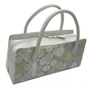 利休バッグ 和装バッグ 正絹帯地唐織 銀グレー お茶席バッグ 西陣織 日本製|hinoyajp2000