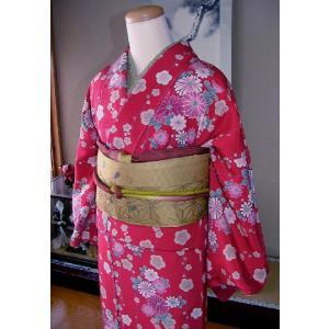 仕立上り着物セット 正絹フルセット 赤地友禅(送料無料) hinoyajp2000
