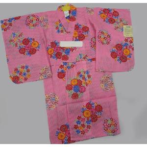 子供浴衣きるきっず 紅型ピンク 100サイズ 3・4才用 お子様浴衣 女の子用|hinoyajp2000