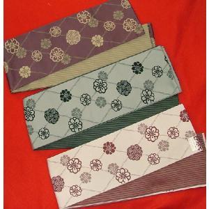 両面半巾小袋帯 浴衣帯 長尺花柄(少々難あり)|hinoyajp2000
