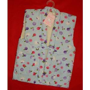 ハローキティー 子供用ポンチョ 袖なしはんてん  女の子用ブルー菊100〜130サイズ hinoyajp2000