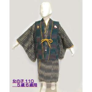 子供の着物 紬アンサンブル 童倶楽部 女の子5歳・6歳用 110サイズ hinoyajp2000
