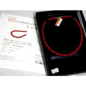 本珊瑚 天然さんご(コーラル)ネックレス 6.5mm〜7.0mm珠  赤サンゴ 血赤|hinoyajp2000
