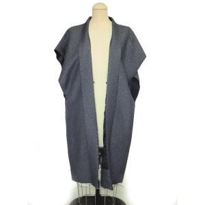 袖なし羽織 陣羽織 正絹お召紬 ロング丈羽織 グレー 男の着物 hinoyajp2000