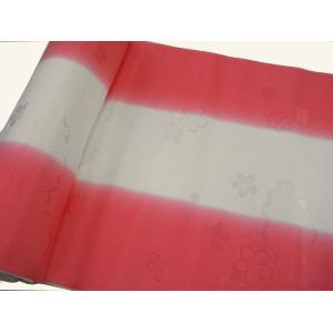 正絹 振袖用長襦袢 反物18m 振りぼかし 赤-1 38cm巾|hinoyajp2000