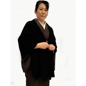 大判ショール 黒 和装用ストール 和洋兼用 ラパン付き|hinoyajp2000