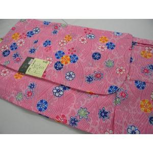 子供浴衣きるきっず 波に花ピンク100サイズ 綿紅梅3・4才用 お子様浴衣 女の子用|hinoyajp2000