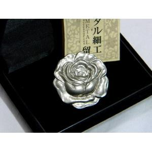 帯留 メタル細工 薔薇 彫金|hinoyajp2000