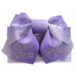 浴衣用 結び帯 作り帯 花柄藤紫 ぼかし|hinoyajp2000