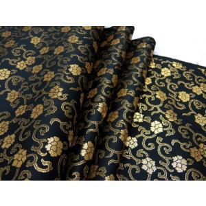 金襴のはぎれ 帯地織物 黒地 金更紗文 広巾(70cmX35cm単位)着物のはぎれ