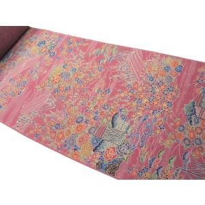 着物のはぎれ 28-12正絹京小紋 金茶橘 反物切り売り(50cm単位) 絹のハギレ