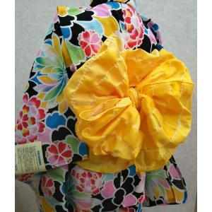 子供兵児帯 無地変り織り市松 女の子用 黄色/赤色|hinoyajp2000