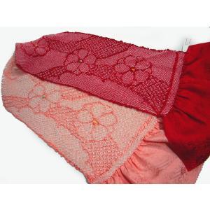 振袖用 総絞り帯揚  輪だし 染め分け四つ巻絞り ピンク/赤|hinoyajp2000