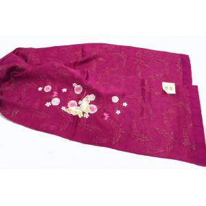 振袖用 帯揚 金通し紋意匠刺繍 瑠璃 赤紫|hinoyajp2000