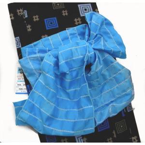 子供兵児帯 無地変り織り市松 女の子/男の子 両用 ブルー|hinoyajp2000